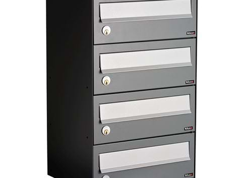 ALLUX LC 4 WITHOUT LOCK - 4 MODULE ANTHRACITE RAL 7012S WITH GREY FLAP RAL 9006