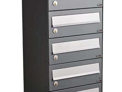ALLUX LC 4 WITHOUT LOCK - 5 MODULE ANTHRACITE RAL 7012S WITH GREY FLAP RAL 9006