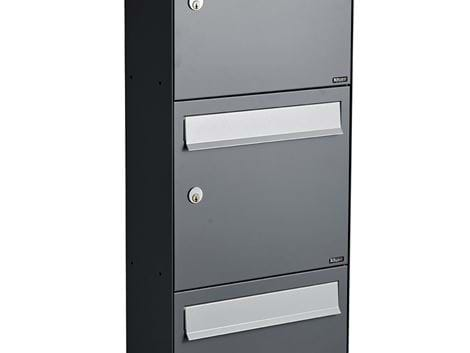 ALLUX HC 4 WITHOUT LOCK - 3 MODULE ANTHRACITE RAL 7012S WITH GREY FLAP RAL 9006